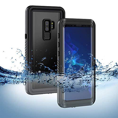 S9 Plus Wasserdichte Hülle, Lanhiem [IP68 Zertifiziert Wasserdicht] Outdoor Handy Hülle mit Eingebautem Displayschutz, Stoßfest Staubdicht Unterwasser Schutzhülle - Schwarz