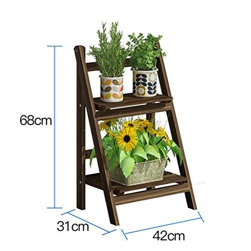 YXWA Stand de la Plante Présentoir à Fleurs avec Cadre en échelle Plante d'intérieur, présentoir à Fleurs en Bois incliné 2/3/4 Couches peuplements d'intérieur (Taille : 68cm)