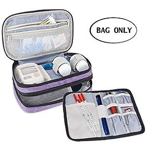 Luxja Insulin Diabetiker Tasche, Doppelschicht Insulin Tasche für Insulinpens, Blutzuckermessgeräte und Diabetiker Zubehör (Nur Tasche)