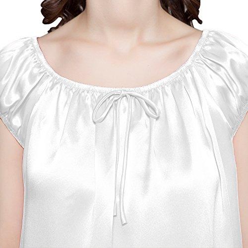 LILYSILK Chemise de Nuit Soie Femme Nœud Papillon Décoration Mi-cuisse 22 Momme Blanc