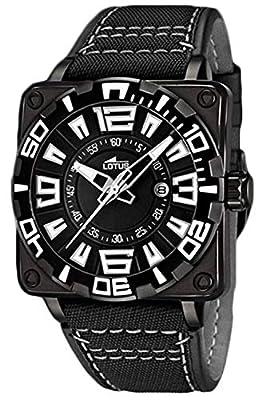 Lotus 15793/1 - Reloj analógico para Caballero de Cuero Negro de Lotus