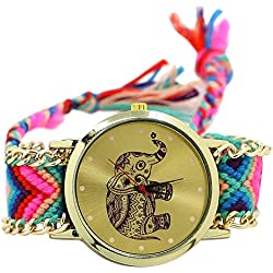 Handmade Knitted Jewelry Watch Women Ladies Tribal Elephant Bangle Wrist Watch Dress Decor