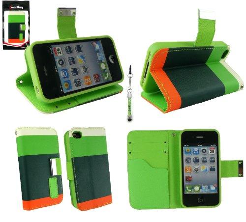 Emartbuy® Sparkling Pack Stylet Pour Apple Iphone 4G / 4Gs / 4S Luxe Socle De Bureau Wallet Case / Couverture / Pochette Blocks Vert / Orange / Blanc Avec Emplacements Pour Les Cartes De