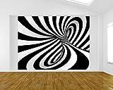Bilderdepot24 Vlies Fototapete - Abstrakte 3D Spirale - schwarz Weiss - 265x200 cm - mit Kleister – Poster – Foto auf Tapete – Wandbild – Wandtapete – Vliestapete