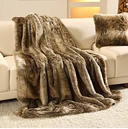 Gözze 40059-150200 grande plaid di pelliccia, poliestere-cotone, brown, 150x200x5 cm