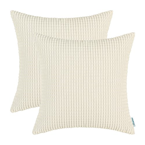 Cottage Creme (CaliTime Kissenbezüge Kissenhülle 2er-Pack Kissenbezug Supersoft Corduroy Corn Striped Beide Seiten Dekokissenhüllen Cases 40cm x 40cm Creme)