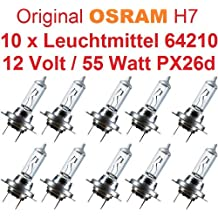 Osram 64210 PX26d - Bombillas H7 para coche (10 unidades, 12 V, 55 W)