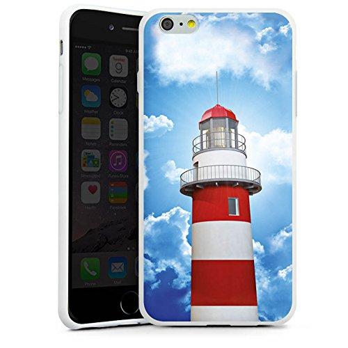 Apple iPhone 6 Tasche Hülle Flip Case Leuchtturm Himmel Wolken Silikon Case weiß