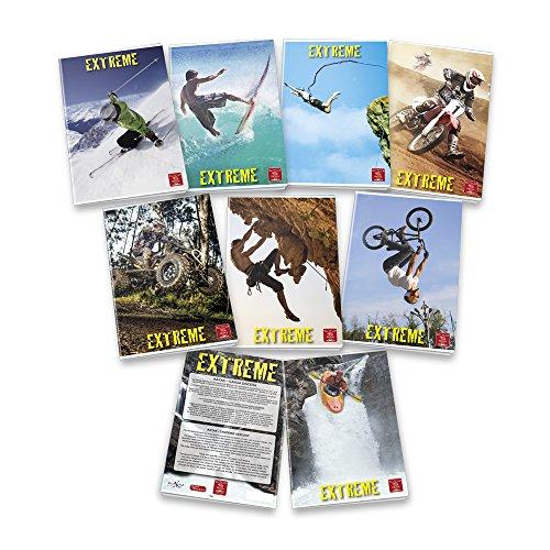 Pigna extreme 02253731r, quaderno formato a4, rigatura 1r, righe per medie e superiori, carta 80g/mq, pacco da 10 pezzi
