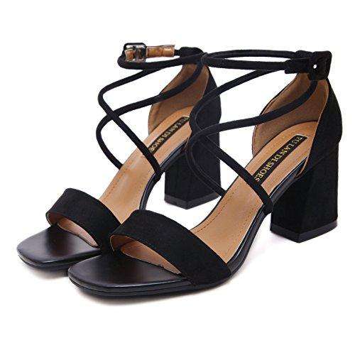 una femmina di fibbia sandali sandali estate con rude scarpe scamosciate sul match scarpe con i tacchi alti 39