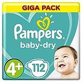 Pampers Baby-Dry Windeln Größe4+ (10–15kg), Luftkanäle für atmungsaktive Trockenheit die ganze Nacht, extra saugfähig, Giga Pack, 1er Pack (1 x 112 Stück)