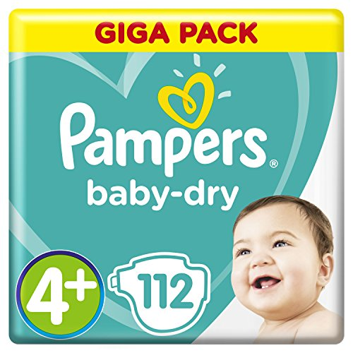 Pampers Baby-Dry Windeln Größe4+ (10–15kg), Luftkanäle für atmungsaktive Trockenheit die ganze Nacht, extra saugfähig, Giga Pack, 1er Pack (1 x 112 Stück) (Saugfähig Pack)