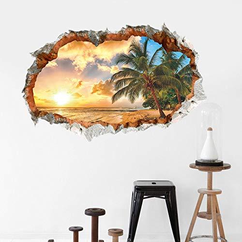 Wandaufkleber Verkauf von Sunny 3D Beach Sunshine Stereoscopic Wall Stickers im Loch der Wand
