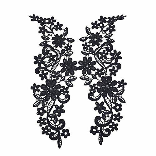 2x Milopon Ecusson Brodé Patch avec Dentelle Creux Mode Autocollant Pour Couture Vêtement DIY Correctifs Noir