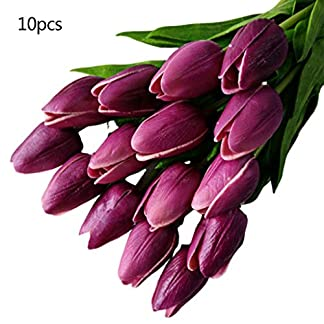 WentingZWT – Juego de 10 tulipanes artificiales de tacto real para el hogar, bodas, fiestas, bricolaje, decoración, ramo de novia, 12 colores Rose Pink