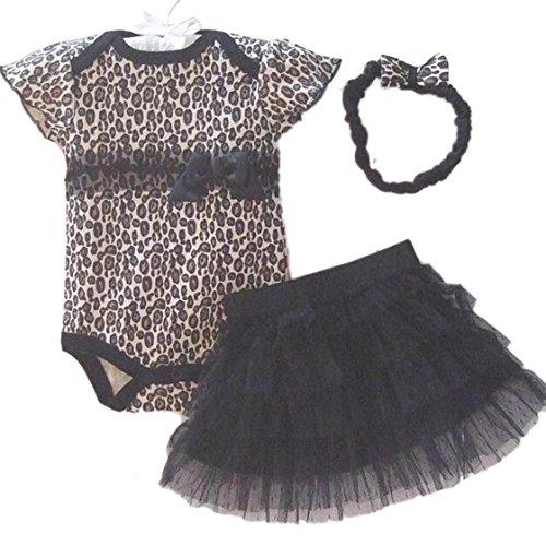 Sannysis® Neonato Baby Girl Cut fascia + romper + TUTU Outfit Abbigliamento (leopardo, 9M)