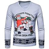 Soupliebe Herren Herbst Winter Weihnachten Weihnachten PrintingTop Langärmeliges T Shirt Bluse für Herren