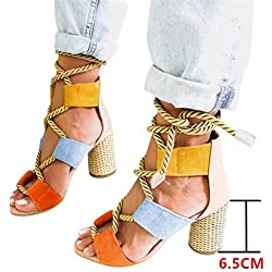 Sandalias Mujer Verano 2019 Tacon Alto 6.5CM Sandalias Romanas Cuerda De Cáñamo Zapatos Gladiador Punta Abierta Sexy Azul Negro Rosa Naranja Lunares EU 35-43 Rosa 41