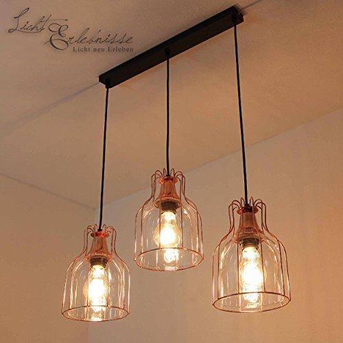 Glas Esszimmer (Effektvolle Hängeleuchte in Kupfer Vintage Design 3x E27 bis zu 60 Watt 230V aus Glas & Metall Küche Esszimmer Pendelleuchte Hängelampe Pendellampe innen)