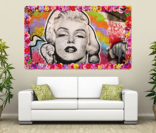 3D Wandtattoo Marilyn Monroe Graffiti Portrait Blumen Rahmen Wandbild Tattoo Wohnzimmer Wand Aufkleber 11L1112, Wandbild Größe F:ca. 97cmx57cm