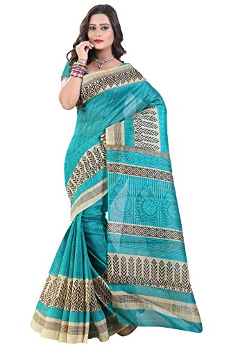 Glory Sarees Cotton Saree (Saree9_Blue)