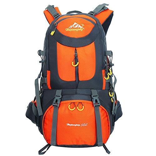 50L Zaino da Escursione Borsa da Sport all'aperto Impermeabile per il Trekking Camping Arrampicata Alpinismo LAHONE (Blu Scuro) Arancia