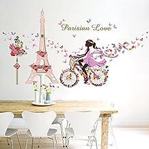 miyan romantique paris tour eiffel fleur amour sticker mural art stickers dcoration de chambre panoramique