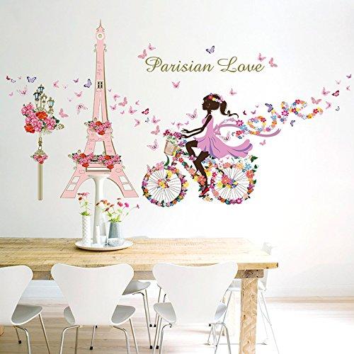 MiYan Romantische Eiffelturm Paris Blume Love Wandtattoo Room Decor Art Aufkleber Wandbild (Paris Aufkleber)
