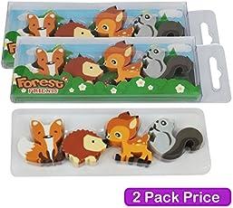 Cute WOODLAND Tier Kinder Radierer–2Packungen/4Radierer Pro Pack (Fox, Reh, Eichhörnchen und Igel)