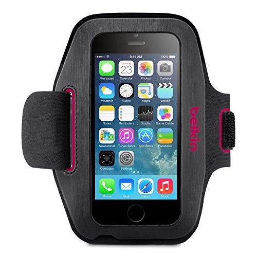 Belkin Sport Fit Sport-Armband (atmungsaktives Neoprenmaterial und verstellbarer Riemen, geeignet für iPhone 6/6s) schwarz/pink -