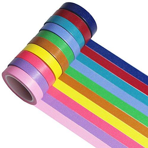 farbige klebestreifen UOOOM 10 Rolls Beautiful Washi Tape Masking Tape deko Klebeband Buntes Klebebänder DIY Scrapbook deko (Colorful 10 Rolls)