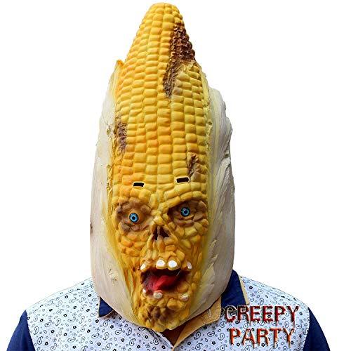 CreepyParty Festa in Costume di Halloween Verdura Testa Maschera in Lattice Mais