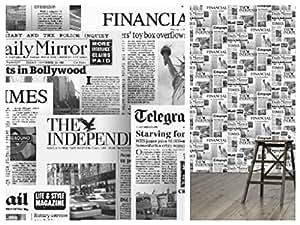 Illusion Newspaper Wallpaper 20600 Amazoncouk Kitchen Home