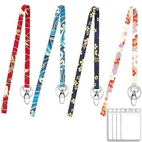 Umhängeband für Schlüssel, niedliches Schlüsselband mit Ausweishalter, Schlüsselanhänger, Namensschild-Clip und wasserdichter Ausweishalter, 4 Stück (Schlüssel Schlüsselbänder Niedliche Für)