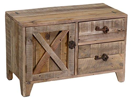 Mobile da ingresso panchetta banloc in legno chiaro con 2 cassetti e anta 70x34h45 listelli effetto grezzo levigato per casa camera salotto cucina