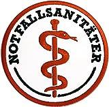 Notfallsanitäter Stoffaufnäher/Patch Klett (8cm Durchmesser) Rettungsdienst  DRK  Malteser  Johanniter  ASB