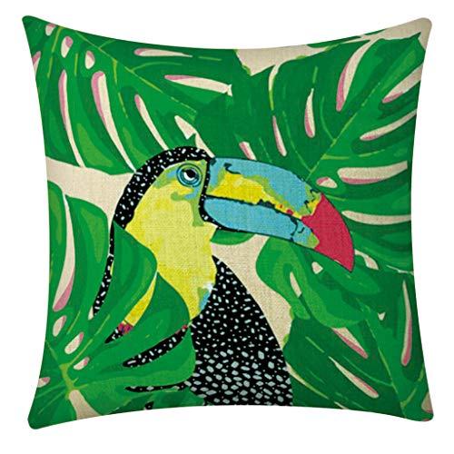 Kissenbezug 45 x 45 cm, Baumwolle Leinen Abstrakte Blume Kaktus Vogel Kissenhülle Taille Wurf Kopfkissenbezug für Zuhause und Sofa By Vovotrade -