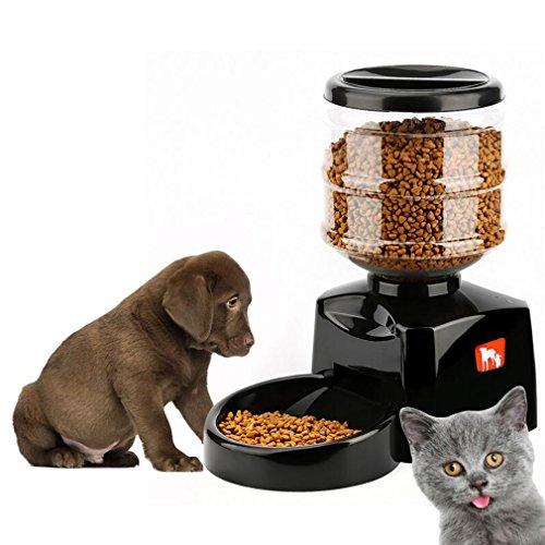 YKS 5,5 L Haustier Futterspender mit Nachricht Sprachaufnahmen und LCD-Bildschirm großen,Automatisierte Futterspender Smart Hunde Katzen essen Schüssel Dispenser Haustier PET-Futterautomat schwarz