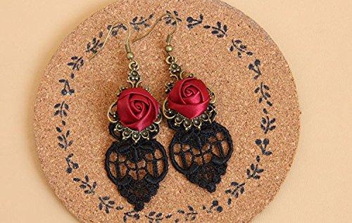 Yazilind Retro Style Lace Baumeln Rote Rose Blume Ohrring Stilvolle Schmuck Für Frauen Geschenkidee - 4
