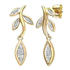 Naava Women's 9 ct Yellow Gold Diamond Flower Drop Earrings