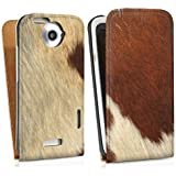 HTC One X Tasche Hülle Flip Case Kuhfell Look Tiere Animals