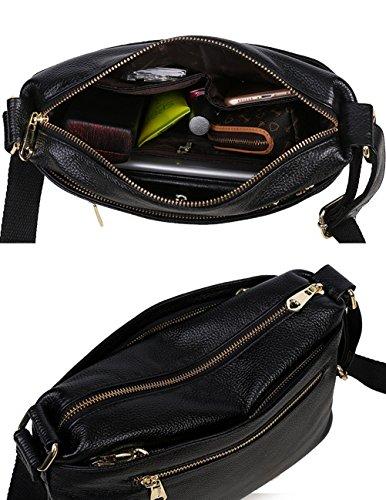 Menschwear Borse a tracolla di borse della borsa della borsa di cuoio delle donne Nero Nero