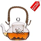 EZ Life Oriental Glass Tea Pot With Flowers & Bamboo Handle - 800ml - 1 Pc - Transparent - Borosilicate Glass - Induction Friendly - Extra Discount Offer