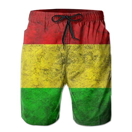 Harry wang Men's Rasta Flag Beach Surfing Board Shorts Swim Trunks PantsSize XL (Rasta Herren Shorts)
