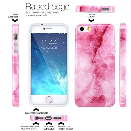 iPhone 5 Hülle, JIAXIUFEN Shiny Rose Gold Gray Marmor Serie Flexible TPU Silikon Schutz Handy Hülle Handytasche HandyHülle Etui Schale Case Cover Tasche Schutzhülle für iPhone 5 5S SE Rosa Pink
