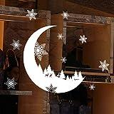 Stickers Muraux Lune Noël boule amovible en vinyle maison fenêtre Stickers PVC autocollant Decor Size:About 25 * 35cm (Blanc)