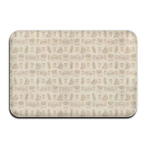 Juzijiang Carpet Non-Slip Stain Fade Resistant Door Mat Fries Hot Dogs Hamburgers Pizza Outdoor Indoor Mat Room Rug 23.6 X 15.7 Inch(60x40cm) (Puzzle Pizza Jigsaw)