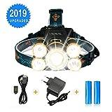 SGODDE Lampe Frontale Puissante avec 5 LED de 8000 lumens, Lampe Torche LED Zoomable...