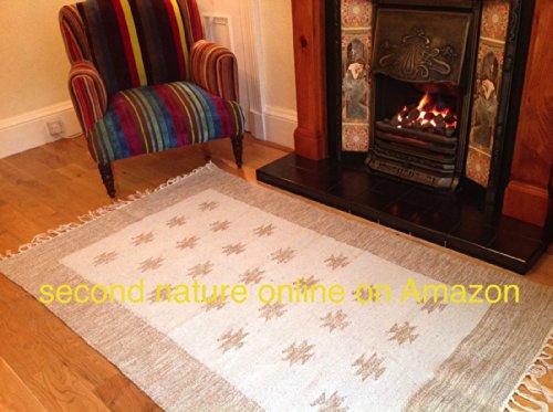 Mano Tejidas segunda naturaleza algodón y yute Border diseño alfombra 90cm x 150cm