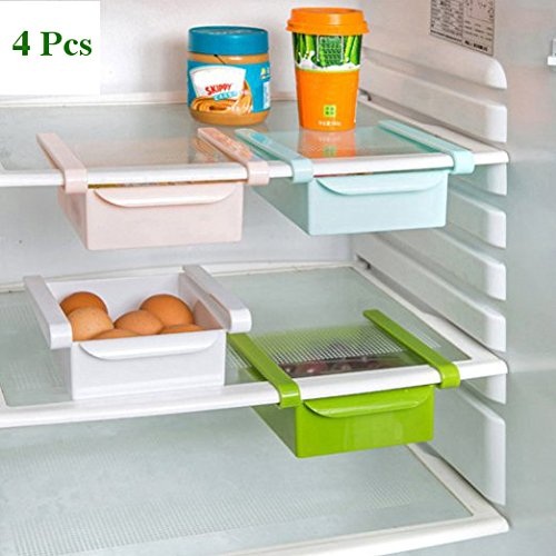 Bulfyss Multipurpose Compact Fridge Storage Rack Layer Partition Refrigerator Storage Holder Pull-out Drawer Organizer Kitchen Shelf Rack (Colors as per availability) - Pack of 4